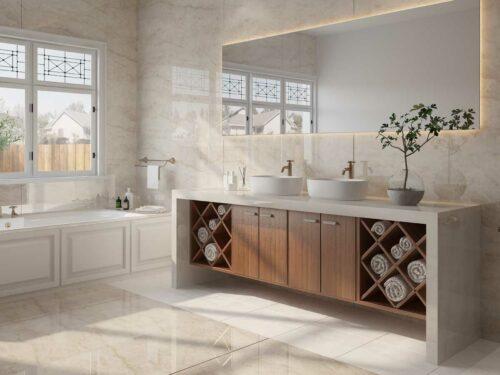 Dekton Arga ultra compact stone countertop bathroom