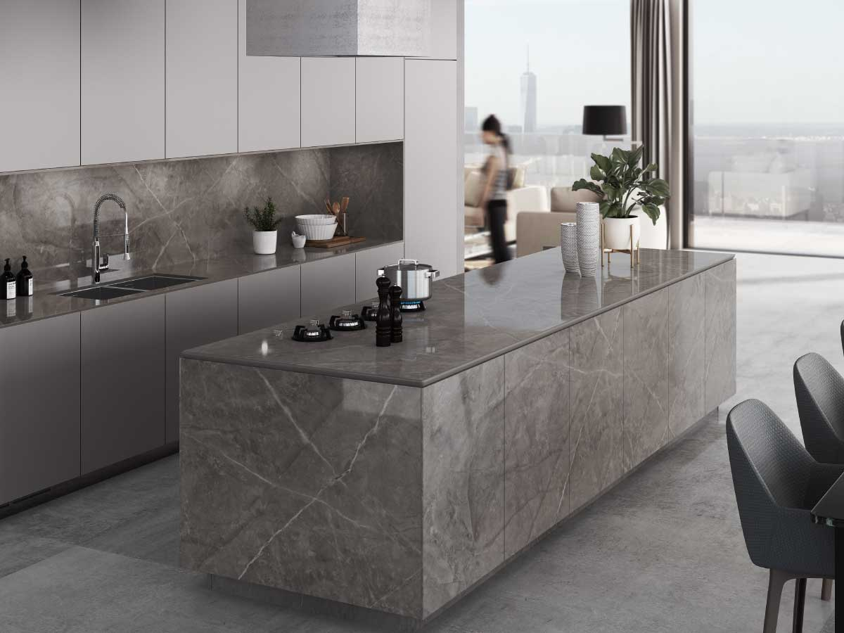 Dekton Koros ultracompact stone countertop kitchen