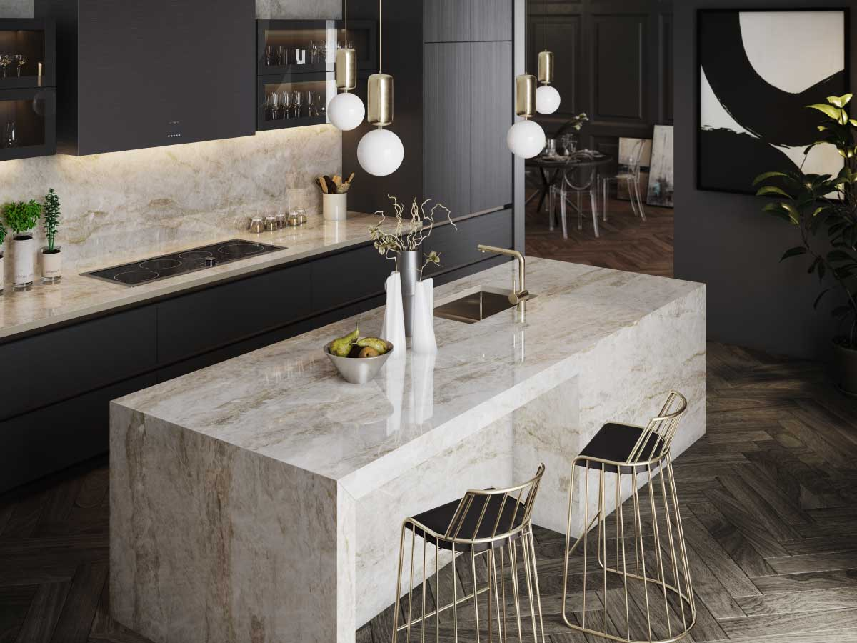 Dekton Taga ultracompact stone countertop kitchen
