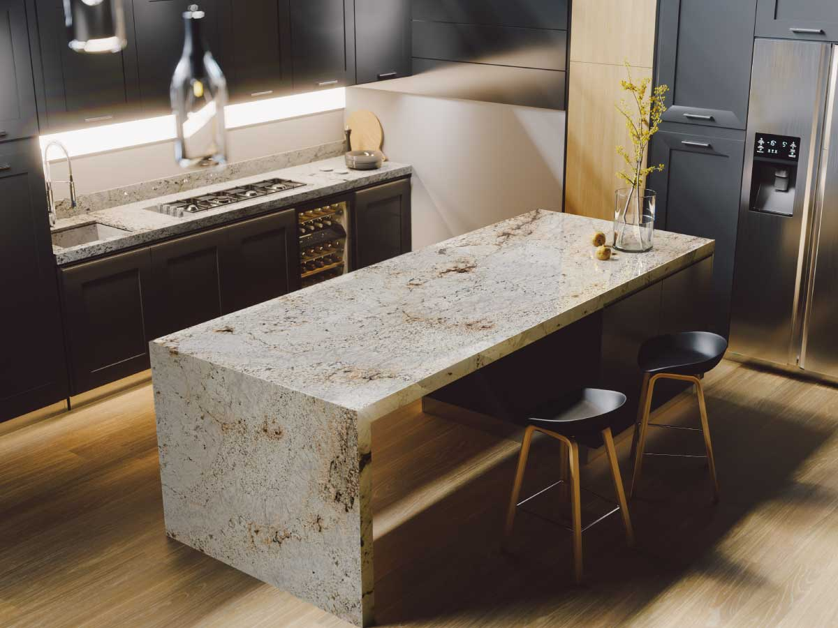 Sensa Crescent Veil granite countertop kitchen