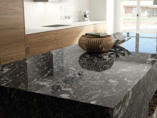 Sensa Indian Black granite countertop kitchen