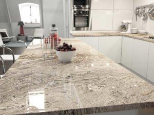 Sensa Waterfall granite kitchen - different types of stone countertops