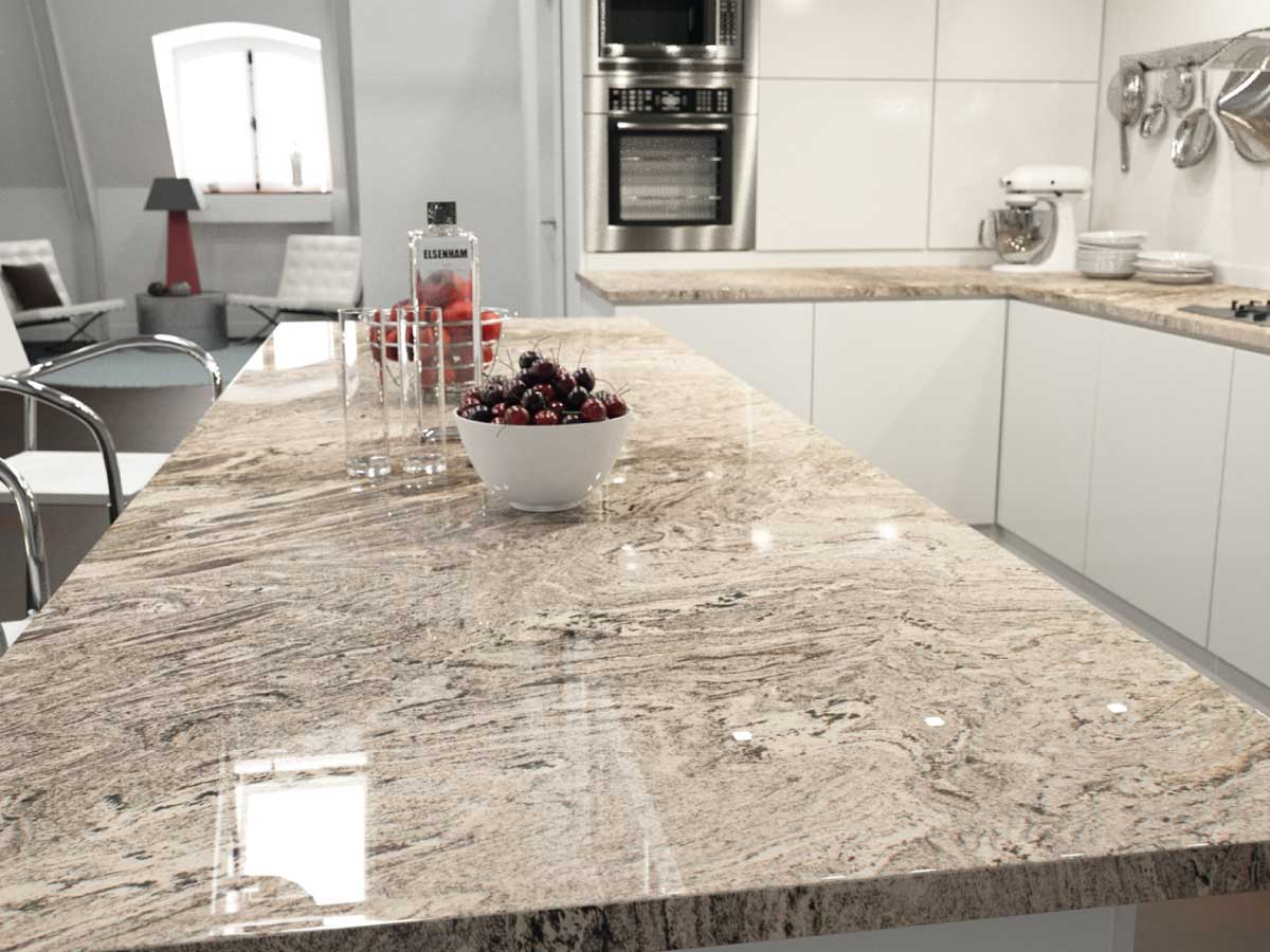 Sensa Waterfall granite countertop kitchen