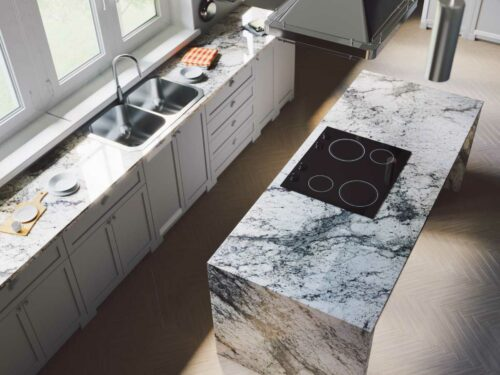 Sensa White Lava granite countertop kitchen