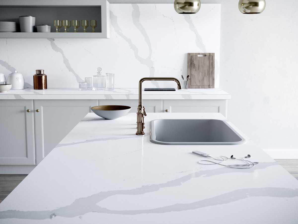Silestone Blanco Calacatta quartz countertop kitchen