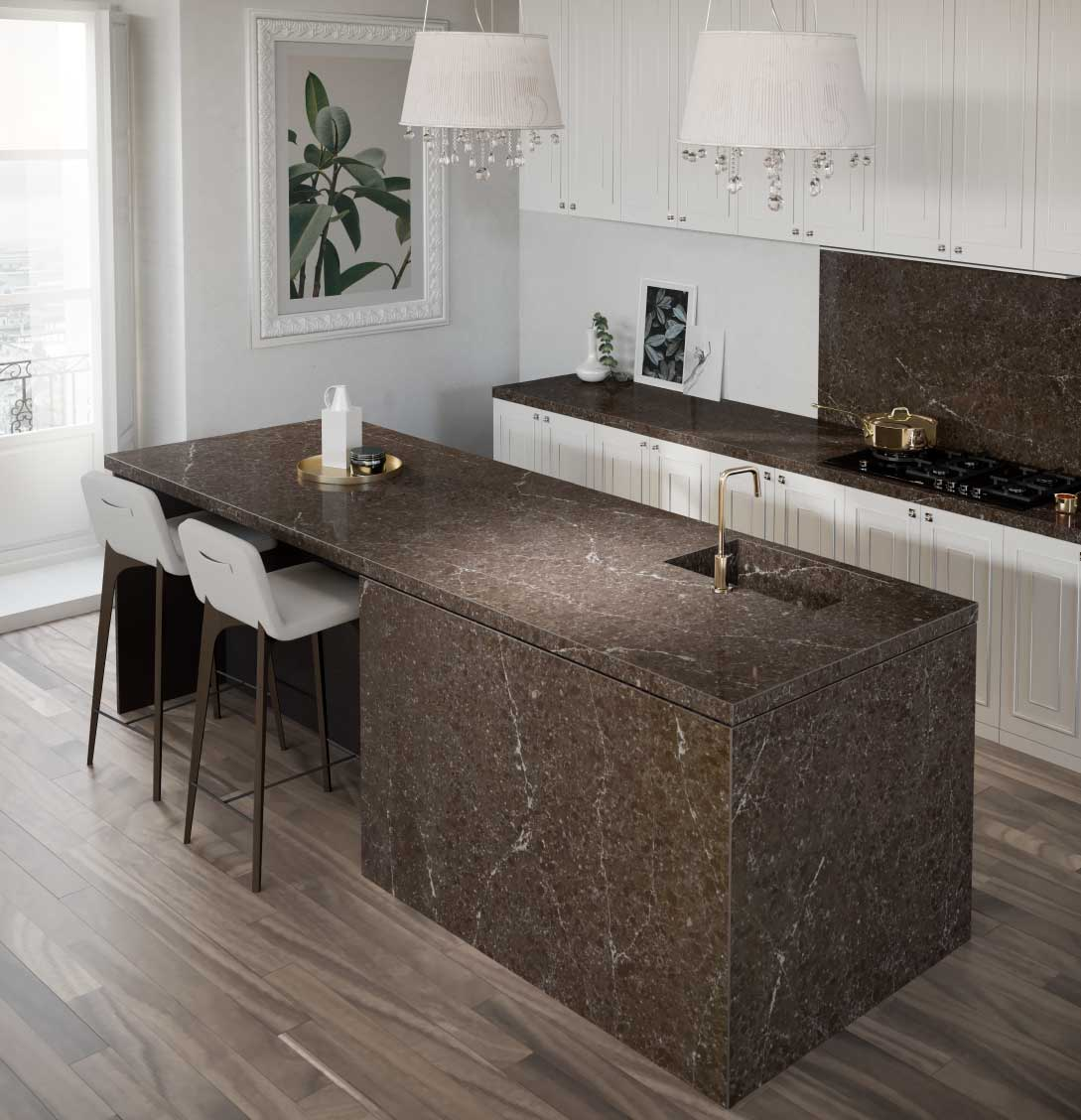 Silestone Eternal Emperador quartz countertop kitchen