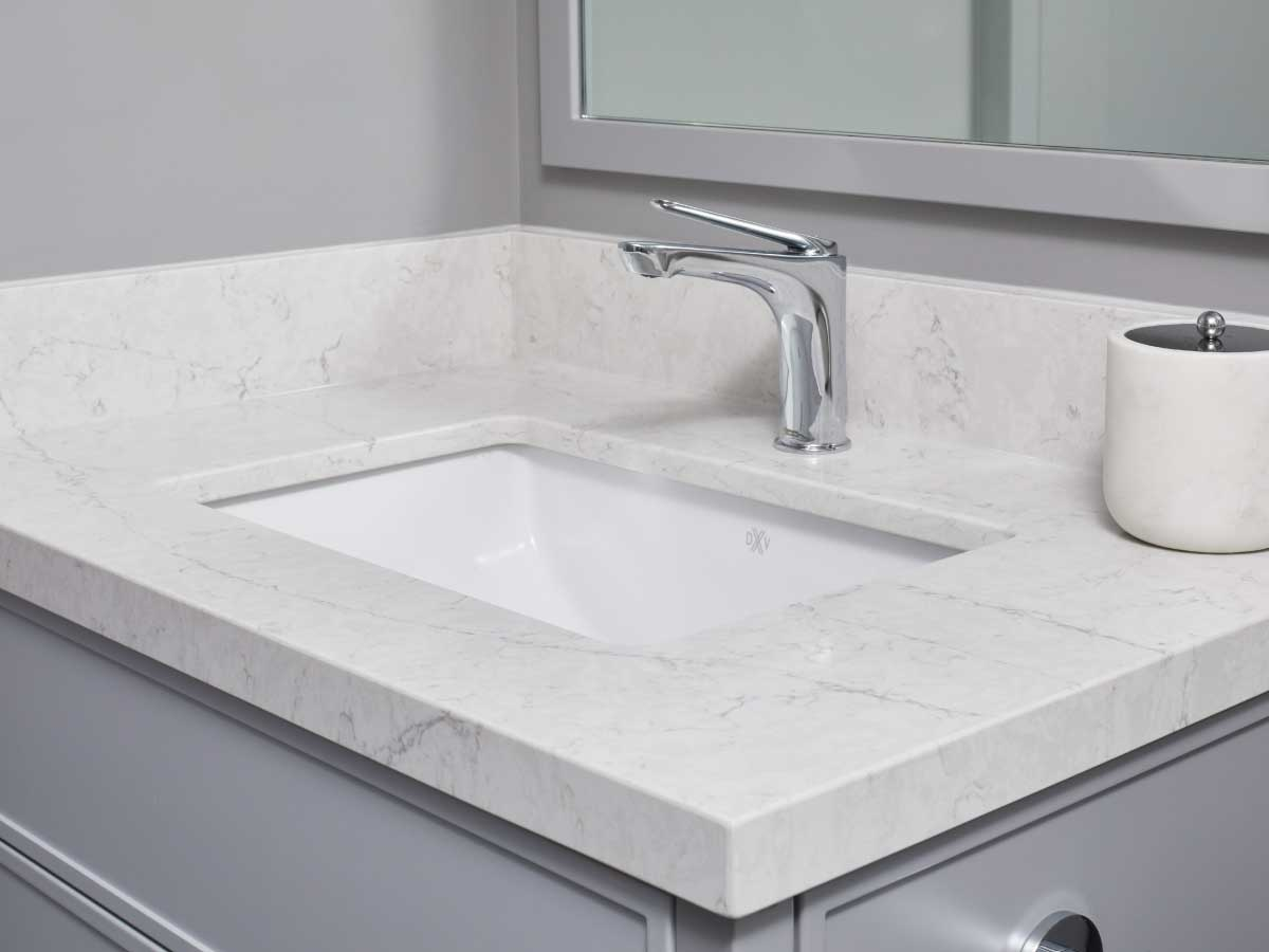 Silestone Pearl Jasmine quartz countertop bathroom