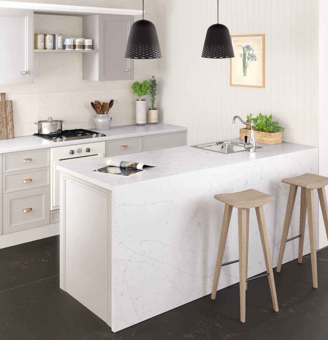 Silestone Statuario quartz countertop kitchen