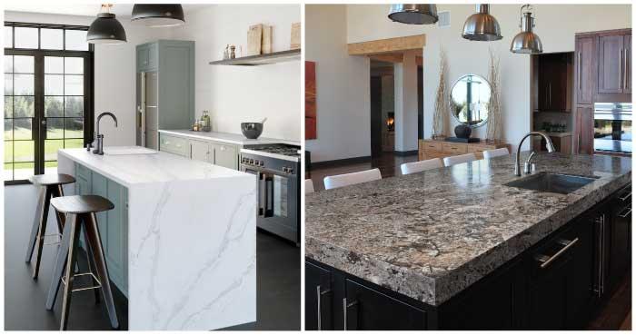 Silestone Calacatta Gold Quartz countertop kitchen next to Sensa Glacial Blue Granite countertop kitchen
